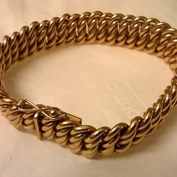Vintage French 'Murat Paris' Heavy Rose Gold Plated Patterned Curb Link Bracelet Thrift Shop Find $3.00
