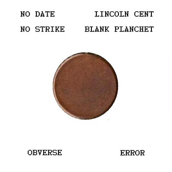 Lincoln Cent - Blank Planchet ERROR - US Coins