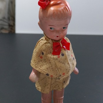Little Red Bow Bisque Doll JAPAN - Jointed Arms