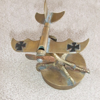 WW1 Trench Art German Airplane on Talon stand