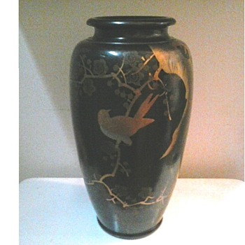 "Japanese Black Lacquer and Gilt Ceramic Vase /12.5 "" Marked ""Made In Japan""/ Circa 20th Century"