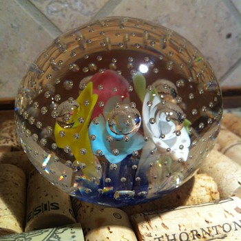 Joe Rice for St Clair Pastel flowers with controlled bubble paperweight - Art Glass