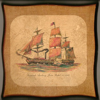 "Steamship ""Savannah"" Print on Wood Wall Plaque"