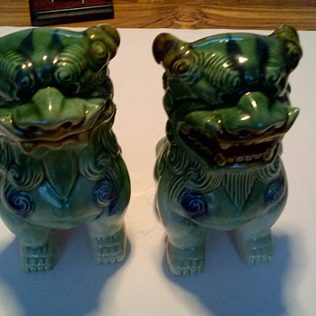 Pair Vintage Chinese Foo Dogs Green Glaze White Tan Guardian