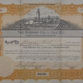 "Old ""Keener Oil and Gas"" Stock certificate"