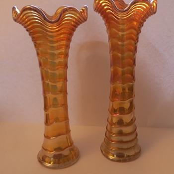 Marigold Carnival Glass Vases