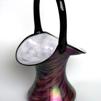 Welz iridescent swirl /marbled vase Basket - Art Glass