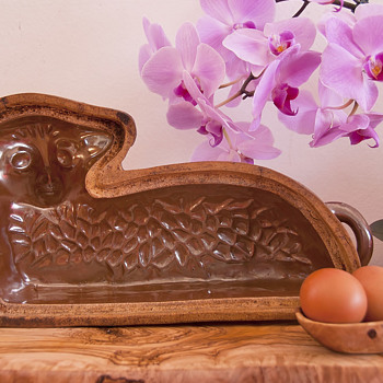 Reclining Lamb Baking Mold - Glazed Earthenware