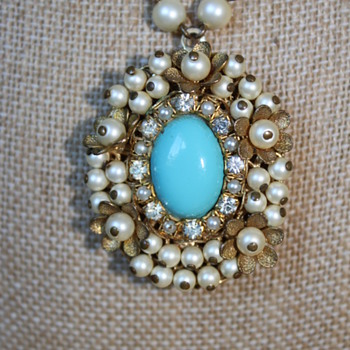 Turquoise, Pearls, Rhinestones, Tiny Flowers, Locket... Oh my!!