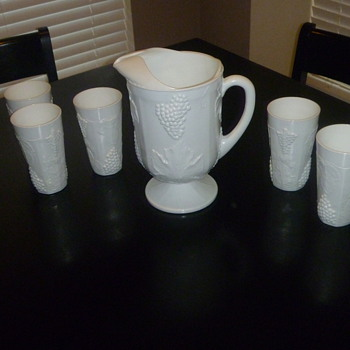 Milk White Glasses and Pitcher