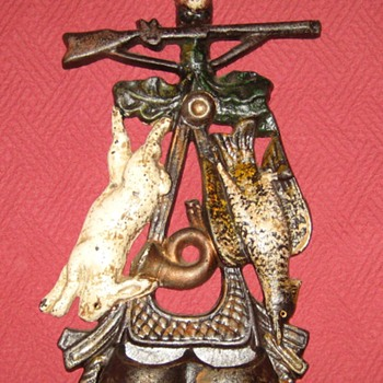 Antique Stag, Rabbit and Fowl Match Stick Holder