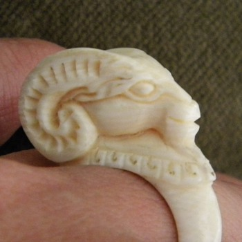 Antique Victorian Carved Ivory Rams Head Ring - Fine Jewelry
