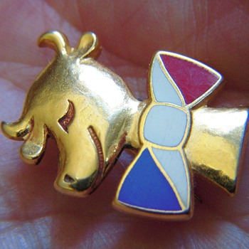 Gold Bull/Cow with Red, White, & Blue Enamel bow tie~A.B PARIS - Gold