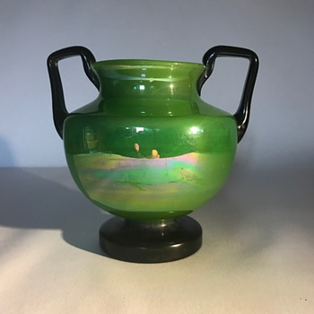 Czech Bohemian Green Lustre Handled Vase - Art Glass