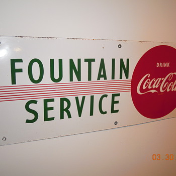 1950&#039;s Porcelain Coca-Cola Fountain Service Sign