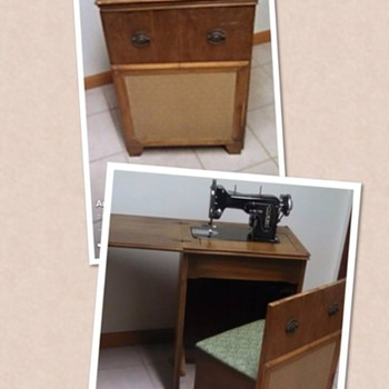Vintage Eureka zig-Zag machine in cabinet /pull-out stool