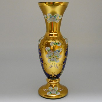 EGERMANN CZECH BOHEMIAN GOLD HIGH ENAMEL BLUE CRYSTAL VASE