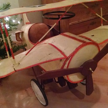 Vintage Bi-plane pedal car / airplane - maker? - Toys
