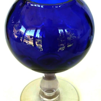 Cobalt Portieux Vallerysthal Cobalt Crystal Stemmed Vase - Art Glass