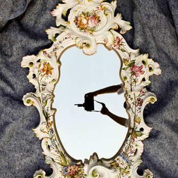 Vintage Antique Porcelain Mirror