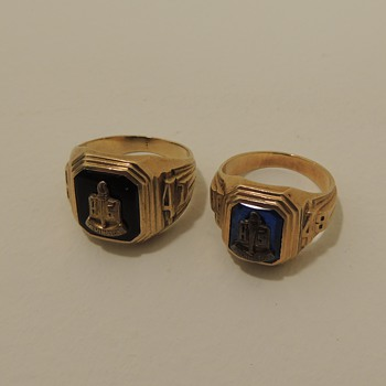 1947 & 1948 High School Rings - Irvington, NJ - 10K Yellow Gold - Fine Jewelry