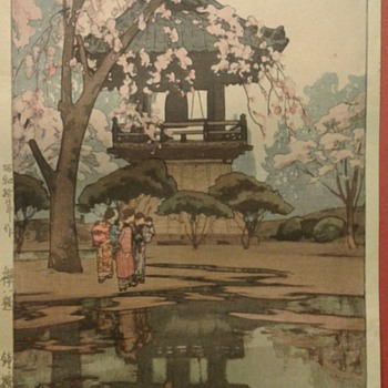 Woodblock Print of... In a Temple Yard.