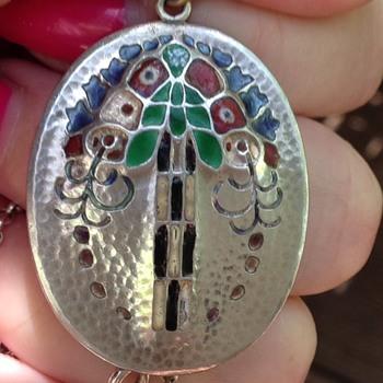 Murrle Bennett Silver Enamel Pendant - Art Nouveau