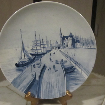 "Villeroy & Boch Mettlach Rare Harbor, Sailboat, Village Scene.9"" Early Mark"