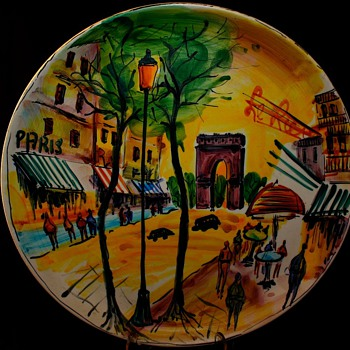 Italian  Pottery Wall Hanging Street Scene Of Paris