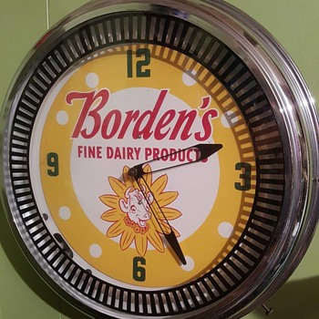 Borden Milk advertising clock - Advertising