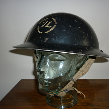 British Civil Defence WWII Factory Guard/Worker steel helmet - Military and Wartime