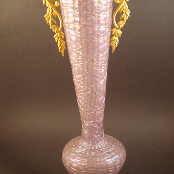 Loetz Lavender Chine Mounted Vase - Art Glass