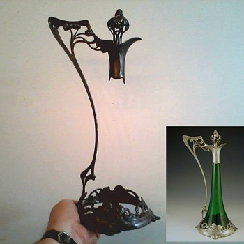 """ WMF "" Germany ""Art Nouveau"" Jugendstil Claret Jug Pewter Mount with Stopper / Hall Marked on Foot / Circa 1906"
