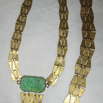 Peking glass & brass or gold necklace & bracelet