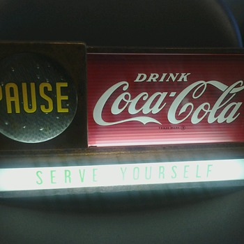 Light Up &quot;Pause Drink Coca Cola&quot; Sign - Coca-Cola