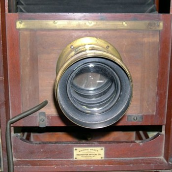 "Circa 1890 12""x12"" Empire State box camera w/ Excelsior lens and wooden tripod"