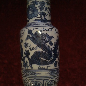 Chinese Blue and White Dragon vase - Asian