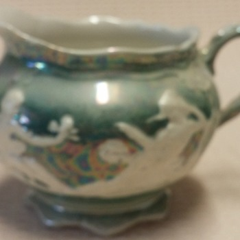 Iris Altenburg Savory Lusterware Creamer with Embossed Figures