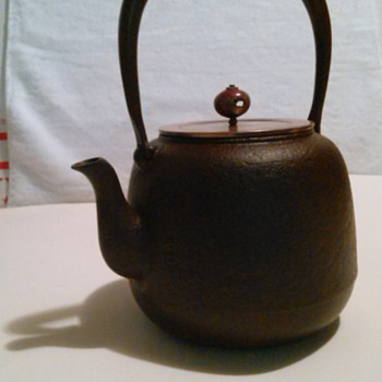 "Antique Japanese  Cast Iron Teapot or ""Tetsubin""."