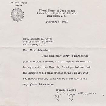 J. Edger Hoover letter - Paper