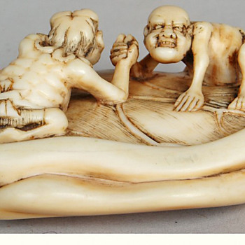 Japanese Meiji Oni &amp; Gaki Ivory Netsuke