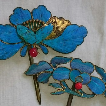 Antique chinese kingfisher feather hairpins