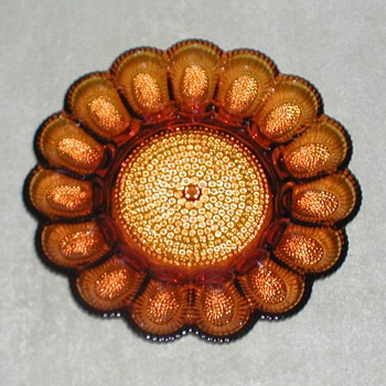 Indiana Glass Amber Glass Hobnail Egg Platter