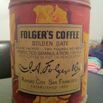 "Folger's Coffee tin  ""Golden Gate"" label - Kitchen"
