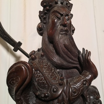 Antique chinese carved wood statue