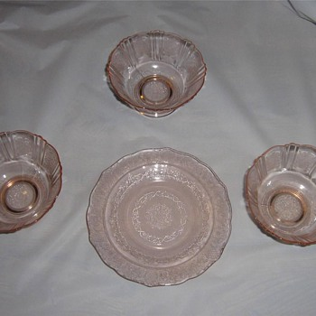 Lot of Pink Depression Glassware - Glassware