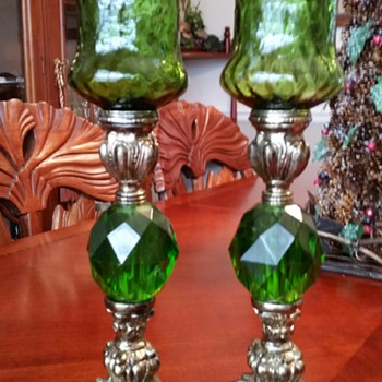 Emerald Green Candle Holders  - Lamps