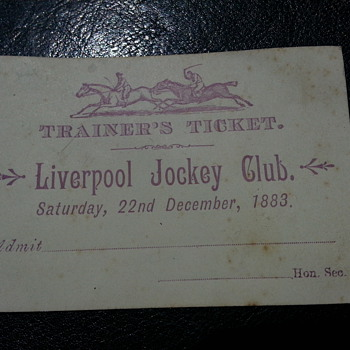 LIVERPOOL JOCKEY CLUB TRAINERS TICKET 1883