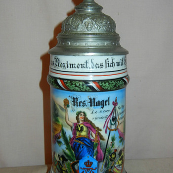 Imperial German Reservist&#039;s stein of Fusilier Nagel of the 80th Prussian Fusilier Regiment - Breweriana
