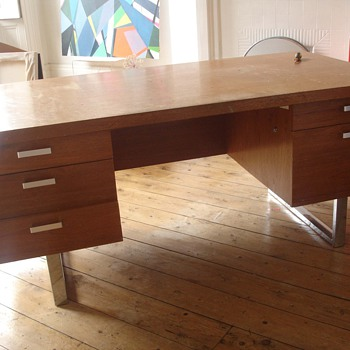 teak/chrome executive desk - Mid Century Modern
